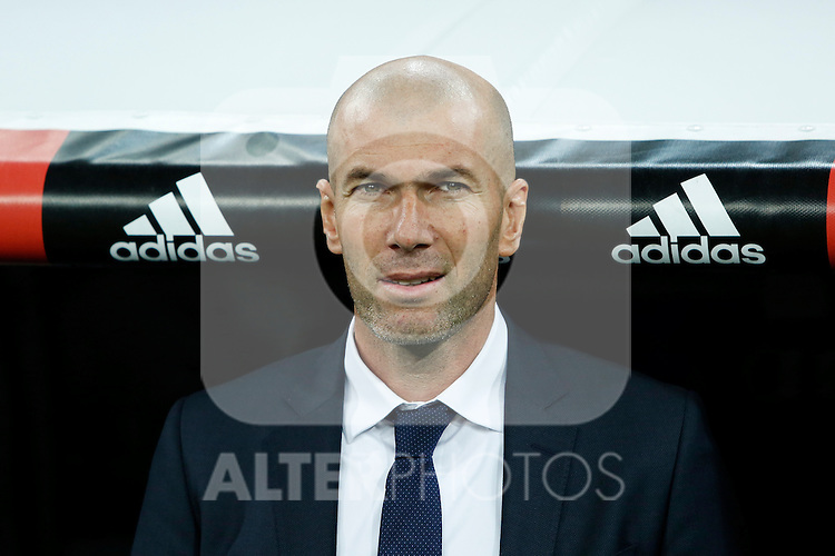 Real Madrid´s new coach Zinedine Zidane before 2015/16 La Liga match between Real Madrid and Deportivo de la Coruna at Santiago Bernabeu stadium in Madrid, Spain. January 09, 2015. (ALTERPHOTOS/Victor Blanco)
