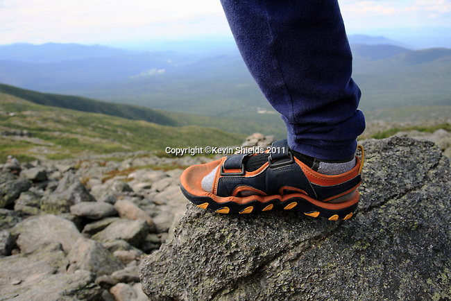 Foot of a hiker near the summit of Mount Washington, New Hampshire, USA