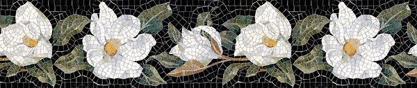 "8 1/2"" Magnolia border, a hand-cut stone mosaic, shown in polished Calacatta Tia, Carrara, Nero Marquina, Verde Alpi, Spring Green, Verde Luna, Bardiglio, Thassos, Persian Gold, Dijon Gold, Crema Valencia, Alba Chiara, and Chartreuse."