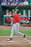 Drew Mount (8) of the Billings Mustangs bats against the Ogden Raptors at Lindquist Field on August 17, 2018 in Ogden, Utah. Billings defeated Ogden 6-3. (Stephen Smith/Four Seam Images)