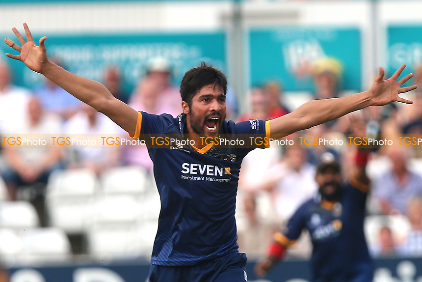 Mohammad Amir of Essex celebrates taking the wicket of Jason Roy during Essex Eagles vs Surrey, NatWest T20 Blast Cricket at The Cloudfm County Ground on 7th July 2017
