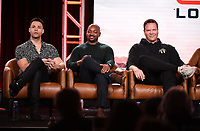 2020 FOX WINTER TCA: (L-R): 9-1-1: LONE STAR cast members Rafael Silva, Brian Michael Smith, and Jim Parrack during the 9-1-1: LONE STAR panel at the 2020 FOX WINTER TCA at the Langham Hotel, Tuesday, Jan. 7 in Pasadena, CA. © 2020 Fox Media LLC. CR: Frank Micelotta/FOX/PictureGroup