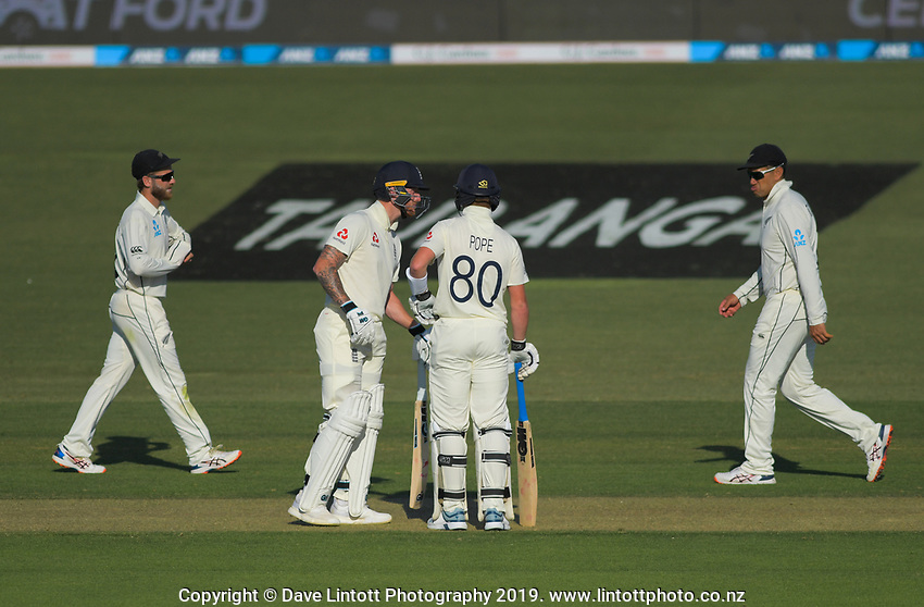 England's Ben Stokes and Ollie Pope during day one of the international cricket 1st test match between NZ Black Caps and England at Bay Oval in Mount Maunganui, New Zealand on Thursday, 21 November 2019. Photo: Dave Lintott / lintottphoto.co.nz