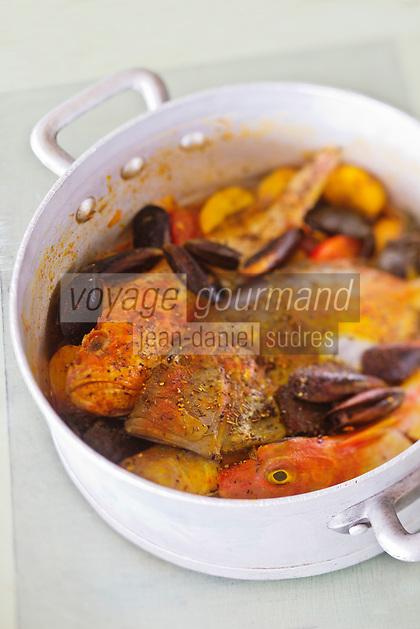 Europe/Provence-Alpes-Côte d'Azur/83/Var/Rayol-Canadel-sur-Mer: Restaurant: A Maurin des Maures -  les poissons de la bouillabaisse de Dédé Delmonte