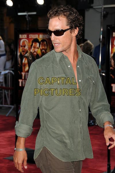 "MATTHEW McCONAUGHEY.""Tropic Thunder"" Los Angeles Premiere at Mann's Village Theatre, Westwood, California, USA. .August 11th, 2008 .half length green shirt sunglasses shades.CAP/ADM/BP.©Byron Purvis/AdMedia/Capital Pictures."