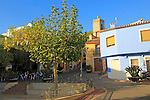 Cafe, church and village buildings, Lliber, Marina Alta, Alicante province, Spain
