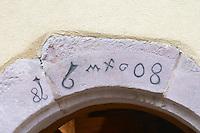 entrance marked 1608 dom bruno sorg eguisheim alsace france