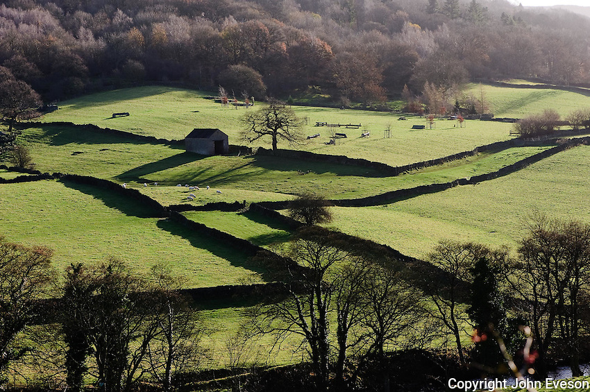 Fields and stone walls near Grindleford, Derbyshire.