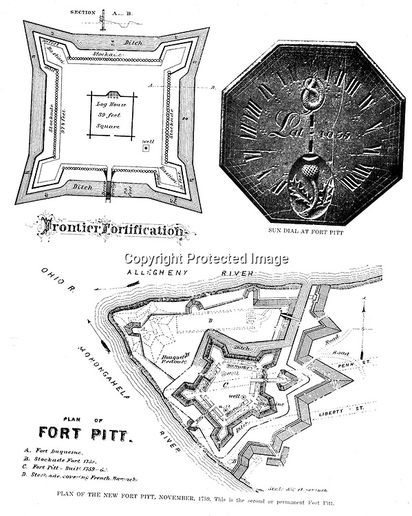 1758 - Diagram of Fort Pitt build during the French and Indial War. Diagrams were included in the Blockhouse during the 1948 on location assignment for AG Trimble Company - 1948.