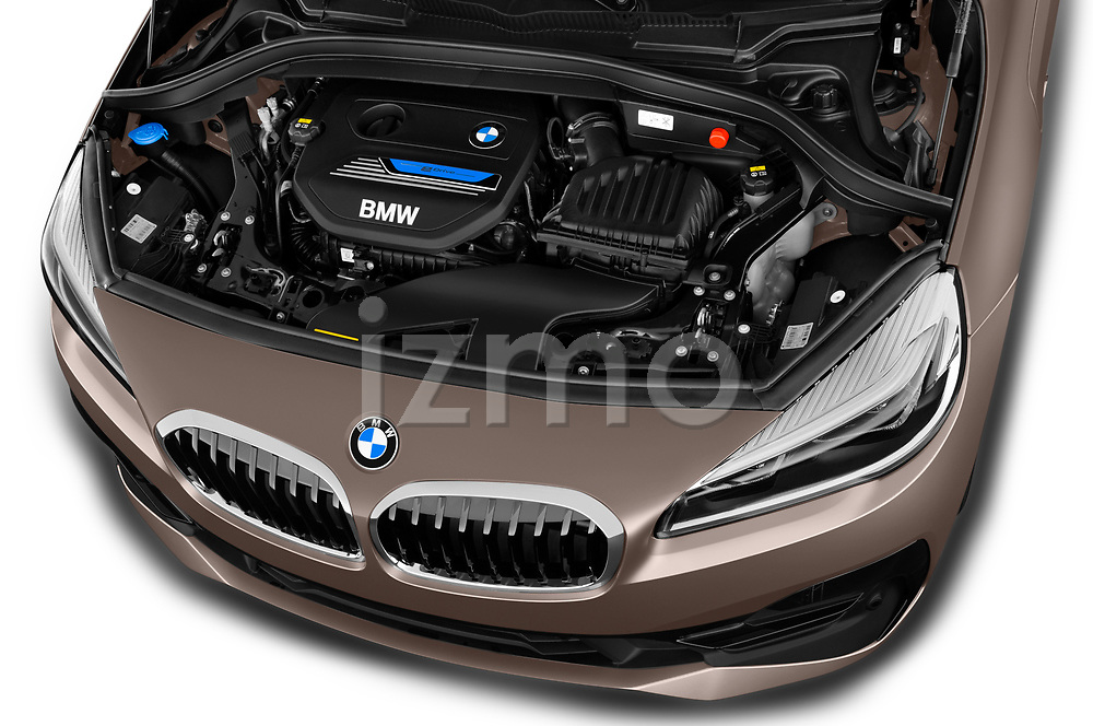 Car stock 2018 BMW 2 Series 225xe iperformance 5 Door Mini Van engine high angle detail view