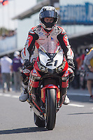 Jamie Stauffer (AUS) riding the Honda CBR1000RR of the Team Honda Racing leaving the pits for a practise session on day one of round one of the 2013 FIM World Superbike Championship at Phillip Island, Australia.