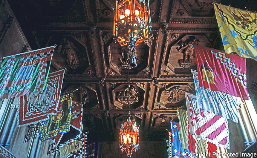 Hearst Castle: Ceiling Flags, Dining Hall, La Casa Grande.