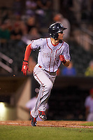 Syracuse Chiefs center fielder Trea Turner (7) runs to first on a triple during a game against the Rochester Red Wings on July 1, 2016 at Frontier Field in Rochester, New York.  Rochester defeated Syracuse 5-3.  (Mike Janes/Four Seam Images)