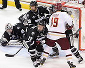 Matt Bergland (PC - 17), Steven Shamanski (PC - 28), Chris Kreider (BC - 19) - The Boston College Eagles defeated the visiting Providence College Friars 4-1 (EN) on Tuesday, December 6, 2011, at Kelley Rink in Conte Forum in Chestnut Hill, Massachusetts.