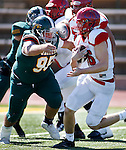 SPEARFISH, SD - SEPTEMBER 17: Cody Benne #95 of Black Hills State gets ready to wrap up Dixie Stte quarterback Josh Thompson during their college football game Saturday September 17, 2016 at Lyle Hare Stadium in Spearfish, S.D.   (Photo by Dick Carlson/Inertia)