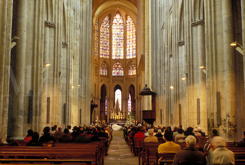 Tours, France, Loire Valley, Loire Castle Region, Europe, Indre-et-Loire, Centre, Interior of the Cathedrale St. Gatien in the city of Tours.