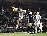 Leeds United's Kemar Roofe heads wide late in the first half under pressure from Reading's Tiago Ilori<br /> <br /> Photographer Rich Linley/CameraSport<br /> <br /> The EFL Sky Bet Championship - Leeds United v Reading - Tuesday 27th November 2018 - Elland Road - Leeds<br /> <br /> World Copyright &copy; 2018 CameraSport. All rights reserved. 43 Linden Ave. Countesthorpe. Leicester. England. LE8 5PG - Tel: +44 (0) 116 277 4147 - admin@camerasport.com - www.camerasport.com