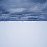 Snow covered landscape, near Eggum, Vestvågøy, Lofoten islands, Norway
