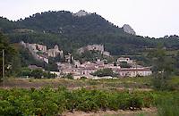 vineyard the village seen from domaine de longue toque gigondas rhone france
