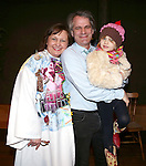 Jennifer Allen and Director Bartlett Sher with his daughter  during the Actor's Equity Opening Night Gypsy Robe Ceremony honoring Jennifer Allen for 'The Bridges of Madison County'  at the Gerald Schoenfeld Theatre on February 20, 2014 in New York City.