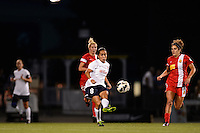 Sky Blue FC forward Monica Ocampo (8) passes the ball. The Western New York Flash defeated Sky Blue FC 2-0 during a National Women's Soccer League (NWSL) semifinal match at Sahlen's Stadium in Rochester, NY, on August 24, 2013.