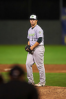 Vermont Lake Monsters pitcher John Gorman (22) gets ready to deliver a pitch during the second game of a doubleheader against the Batavia Muckdogs August 11, 2015 at Dwyer Stadium in Batavia, New York.  Batavia defeated Vermont 1-0.  (Mike Janes/Four Seam Images)