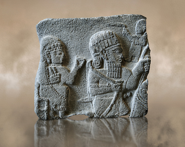 Fragment of a stele depicting a seated woman and a rider on a horse. Neo Syro Hittite, Basalt 8th century BC. Pergamon Museum, Berlin inv no VA15208