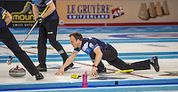 Glasgow. SCOTLAND.  Scotland's &quot;Skip&quot; Tom BREWSTER, during one off the &quot;Round Robin&quot; Game. Le Gruy&egrave;re European Curling Championships. 2016 Venue, Braehead  Scotland<br /> Tuesday  22/11/2016<br /> <br /> [Mandatory Credit; Peter Spurrier/Intersport-images]