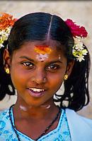 Indian girl, Sri Meenakshi Temple, Madurai, Tamil Nadu, India