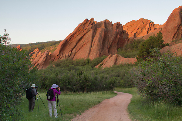 Photographers at sunrise in Roxborough State Park, Colorado