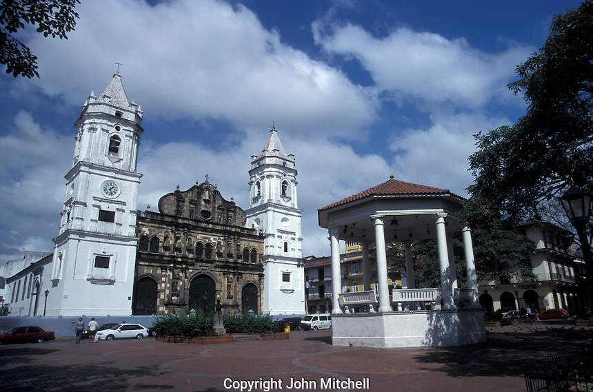 The Plaza de la Independencia in Casco Viejo, the oldest neighbourhood in Panama City, Panama