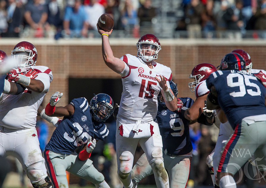 Hawgs Illustrated/BEN GOFF <br /> Cole Kelley, Arkansas quarterback, throws the ball in the second half against Ole Miss Saturday, Oct. 28, 2017, at Vaught-Hemingway Stadium in Oxford, Miss.