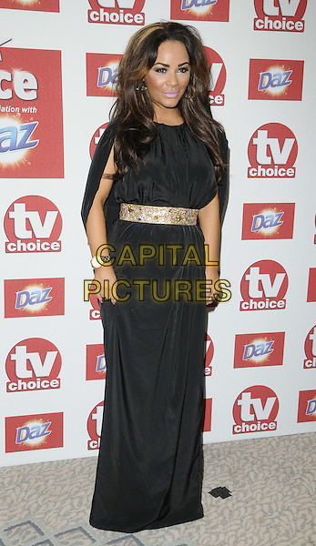 Chelsee Healey.The TV Choice Awards 2012, Dorchester Hotel, Park Lane, London, England..September 10th, 2012.full length black dress gold embellished jewel encrusted belt watch.CAP/CAN.©Can Nguyen/Capital Pictures.