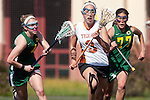 Santa Barbara, CA 02/13/10 - Sarah Liewellyn (Texas #3), Bryn Levitan (Oregon #77) and Laura Spanko (Oregon #4) in action during the Texas-Oregon game at the 2010 Santa Barbara Shoutout, Texas defeated Oregon 11-9.