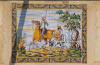 Europe/Espagne/Baléares/Minorque/Cala en Porter : Hostal Castillo Sancho Pansa - Azuleros représentant Don Quichotte et Sancho Pansa