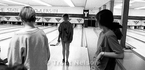 Pat Quayle bowls a gutter-ball at Regal Lanes<br />