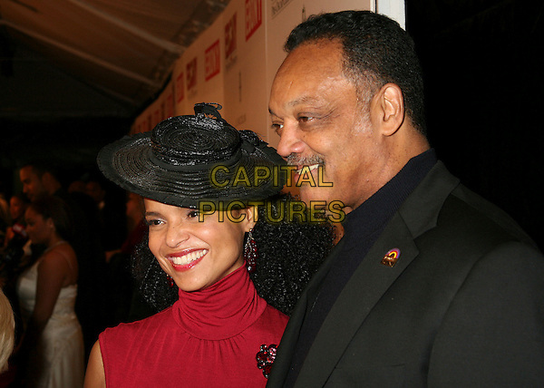 VICTORIA ROWELL & JESSE JACKSON.Ebony Hosts 3rd Annual Pre-Oscar Celebration at Jim Henson Studios, Hollywood, California, USA..February 22nd, 2007.headshot portrait profile mustache facial hair black hat .CAP/ADM/BP.©Byron Purvis/AdMedia/Capital Pictures
