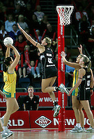 20.09.2008 Silver Ferns Casey Williams and Australia's Susan Pratley in action during the New World Netball test match between the Silver Ferns and Australia played at Vector Arena in Auckland Mandatory Photo Credit ©Michael Bradley.