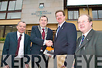 AMBASSADOR: Mayor of Tralee, Cllr Ted Fitzgerald greets US interim ambassador to Ireland, Robert Faucher at Tralee Town Council on Wednesday, with council staff, Michael Scannell of John Griffin.
