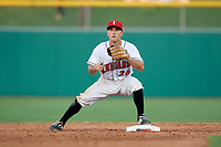 Indianapolis Indians second baseman Adam Frazier (26) turns a double play during a game against the Rochester Red Wings on July 24, 2018 at Victory Field in Indianapolis, Indiana.  Rochester defeated Indianapolis 2-0.  (Mike Janes/Four Seam Images)
