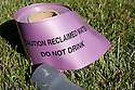 "A roll of purple sleeve material to cover pipes that says ""Caution Reclaimed Water, Do Not Drink."" Purple is the color code for reclaimed water. The cities of Palo Alto and Mountain View are jointly constructing a reclaimed water pipeline to carry recycled water from the Palo Alto Regional Water Quality Control Plant to customers along East Bayshore Parkway and Mountain View's North Bayshore area."