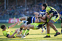 James Wilson of Bath Rugby is thrown to ground by Mike Haley of Sale Sharks. Aviva Premiership match, between Bath Rugby and Sale Sharks on February 24, 2018 at the Recreation Ground in Bath, England. Photo by: Patrick Khachfe / Onside Images