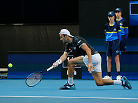 7th January 2020; RAC Arena, Perth, Western Australia; ATP Cup Australia, Perth, Day 5; USA versus Italy; Stefano Travaglia of Italy plays a forehand shot from the baseline against Taylor Fritz of the USA - Editorial Use