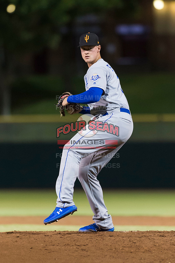 Surprise Saguaros starting pitcher Scott Blewett (32), of the Kansas City Royals organization, delivers a pitch during an Arizona Fall League game against the Scottsdale Scorpions at Scottsdale Stadium on October 15, 2018 in Scottsdale, Arizona. Surprise defeated Scottsdale 2-0. (Zachary Lucy/Four Seam Images)