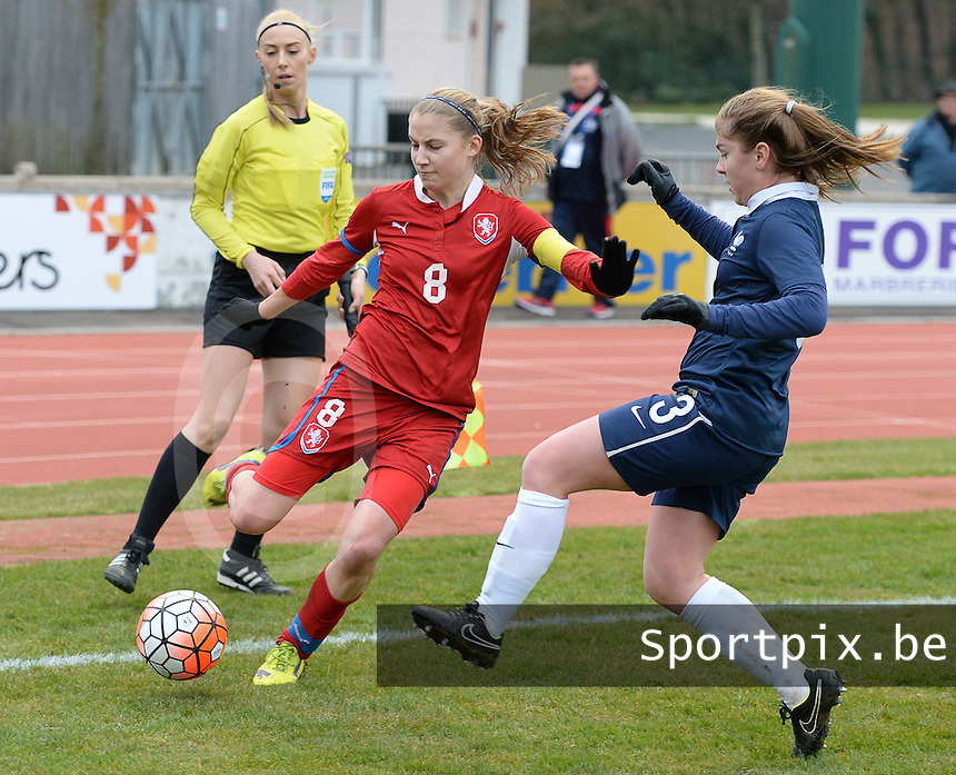 20160319 - FLERS , FRANCE : French Charlotte Rebours (R) and Czech Kamila Dubcova (L) pictured during the soccer match between the women under 17 teams of  France and the Czech Republic , on the first matchday in group 3 of the UEFA Women Under17 Elite rounds at Stade du Haze in Flers , France . Saturday 19th March 2016 . PHOTO DAVID CATRY