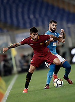 Calcio, Serie A: Roma, stadio Olimpico, 14 ottobre 2017.<br /> Roma's Diego Perotti (l) in action with Napoli's Raul Albiol (r) during the Italian Serie A football match between Roma and Napoli at Rome's Olympic stadium, October14, 2017.<br /> UPDATE IMAGES PRESS/Isabella Bonotto
