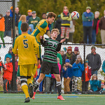 15 November 2015: University of Vermont Catamount Defender Nile Walwyn, a Senior from Mississauga, Ontario, in action against the Binghamton University Bearcats at Virtue Field in Burlington, Vermont. The Catamounts shut out the Bearcats 1-0 in the America East Championship Game. Mandatory Credit: Ed Wolfstein Photo *** RAW (NEF) Image File Available ***