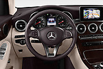 Car pictures of steering wheel view of a 2018 Mercedes Benz GLC Coupe 350 e 5 Door SUV