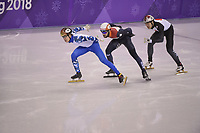 OLYMPIC GAMES: PYEONGCHANG: 17-02-2018, Gangneung Ice Arena, Short Track, 1000m Men, Semen Elistratov (OAR), Ryosuke Sakazume (JPN), Sjinkie Knegt (NED), ©photo Martin de Jong