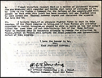 BNPS.co.uk (01202 558833)<br /> Pic: LaidlawAuctioneers/BNPS<br /> <br /> The letter was sent from Dowdings Fighter Command HQ at Bentley Priory in Middlesex.<br /> <br /> Controversial policy to abandon France revealed in  RAF chiefs letter from 16th May 1940.<br /> <br /> A historically significant letter penned by Air Chief Marshal Hugh Dowding outlining the case for 'sacrificing' France to allow Britain to better defend itself from a Nazi invasion has emerged for sale at auction.<br /> <br /> The head of Fighter Command state's 'not one extra fighter' should be deployed to help their beleaguered ally across the channel 'however urgent and insistent the appeals for help may be'.<br /> <br /> And he chillingly concludes that diverting more resources  would cause the 'final, complete and irremediable defeat of this country' in World War Two.<br /> <br /> Although subsequent events in the Battle of Britain fully vindicated Dowdings decision the policy still rankles with some French historians to this day.